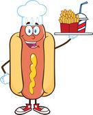 Cachorro-quente chef personagem segurando um prato com batatas fritas e um refrigerante — Fotografia Stock