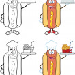 Hot Dog Cartoon Characters 5 Collection Set — Stock Photo #40426585