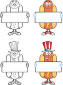 Hot Dog Cartoon Characters 4 Collection Set — Stock Photo