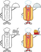 Hot Dog Cartoon Characters 5 Collection Set — Stock Photo