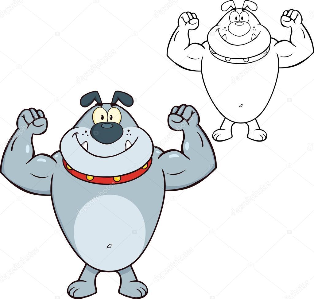 Personnage de dessin anim bouledogue gris souriant - Bulldog dessin anime ...