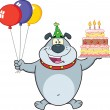 Stock Photo: Birthday Gray Bulldog Cartoon Character Holding Up A Birthday Cake With Candles