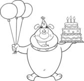 Black And White Birthday Bulldog Character Holding Up A Birthday Cake With Candles — Stock Photo