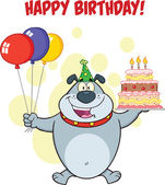 Happy Birthday Greeting With Gray Bulldog Holding Up A Birthday Cake With Candles — Stock Photo