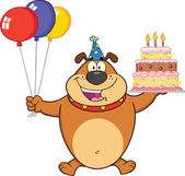 Birthday Brown Bulldog Cartoon Character Holding Up A Birthday Cake With Candles — Stock Photo