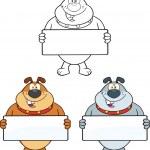 Bulldog Cartoon Characters 2 Collection Set — Stock Photo #40941509