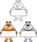 Bulldog Cartoon Characters 2  Collection Set — Stock Photo
