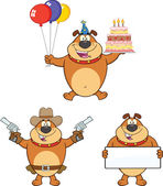 Bulldog Cartoon Characters 6  Collection Set — Stock Photo