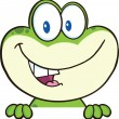 Cute Green Frog Cartoon Mascot Character Over Blank Sign — Stock Photo #40958545