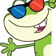 Cute Frog With 3D Glasses Character Looking Around A Blank Sign And Waving — Stock Photo