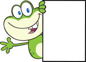 Cute Frog Cartoon Mascot Character Looking Around A Blank Sign And Waving — Stock Photo