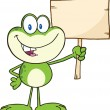 Cute Green Frog Character Holding Up A Wood Sign — Stock Photo