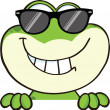 Cute Frog With Sunglasses Cartoon Character Over Blank Sign — Stock Photo #41021317