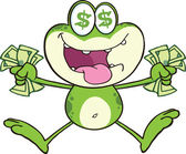 Crazy Green Frog Character Jumping With Cash — Stock Photo