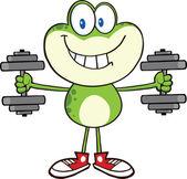 улыбаясь зеленая лягушка мультфильм характер обучения с гантелями — Стоковое фото