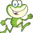 Cute Green Frog Cartoon Character Running — Stock Photo