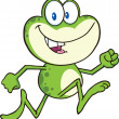 Stock Photo: Cute Green Frog Cartoon Character Running
