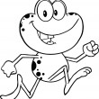 Stock Photo: Black And White Cute Frog Cartoon Character Running
