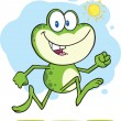Cute Green Frog Cartoon Character Running Outdoor — Stock Photo