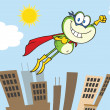 Frog Superhero Character Flying Over The City — Stock Photo #41094665
