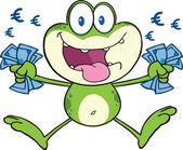 Crazy Green Frog Cartoon Mascot Character Jumping With Euro — Stock Photo