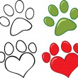 Dog Paw Set Collection — Stock Photo