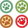 Dog Paw In Circle Set Collection — Stock Photo