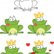 Happy Frog With Tongue Out Characters  Set Collection — Stock Photo #41423797