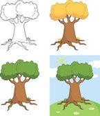 Big Cartoon Tree Cartoon Illustrations  Collection — Stock Photo