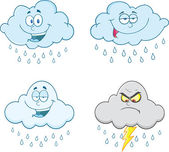 Raining Clouds Cartoon Characters  Set Collection — Stock Photo