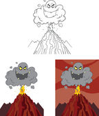 Evil Black Cloud Over Erupting Volcano  Set Collection — Stock Photo