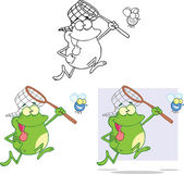 Crazy Frog Chasing A Fly Cartoon Character  Set Collection — Stock Photo