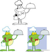 Chef Frog Holding A Cloche Platter Cartoon Character  Set Collection — Stock Photo