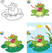 Frog Catching A Fly Cartoon Character  Set Collection — Stock Photo