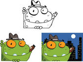 Mobster Frog Cartoon Character  Set  Collection — Stock Photo