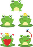 Happy Frog Sitting On A Leaf Characters  Set Collection — Stock Photo