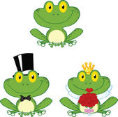Happy Small Frogs Cartoon Characters  Set Collection — Stock Photo