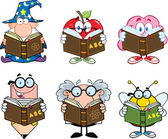Different Mascots Reading A Book Characters  Set Collection — Stock Photo