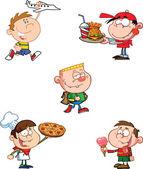 Happy Kids Cartoon Characters — Stock Photo