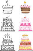 Cartoon Cakes  Set Collection — Stock Photo
