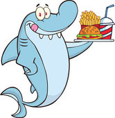 Shark Cartoon Character Holding A Plate Of Hamburger And French Fries — Stock Photo