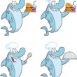 Shark Cartoon Character 2. Set Collection — Stock Photo
