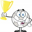 Happy Soccer Ball Cartoon Character Holding Golden Trophy Cup — Stock Photo #41779447