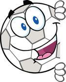Soccer ball seriefiguren titta runt ett tomt tecken — Stockfoto