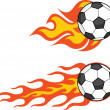 Flaming Soccer Balls Set Collection — Stock Photo