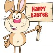 Funny Rabbit Cartoon Character Holding A Wooden Board With Text — Stock Photo #42262469