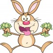 Rich Brown Rabbit Character Jumping With Cash — Stock Photo #42279777