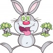 Rich Gray Rabbit Character Jumping With Cash — Stock Photo #42279789