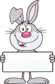 バナーを保持面白い灰色ウサギ文字 — ストック写真