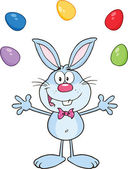 Cute Blue Rabbit Cartoon Character Juggling With Easter Eggs — Stock Photo